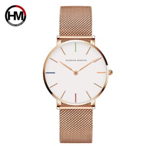 High Quality 36MM Women Stainless Steel Rose Gold Waterproof Watch