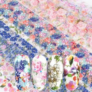 10Pcs Set Fashion Women Nail Foil Stickers Rose Blue Flowers Art