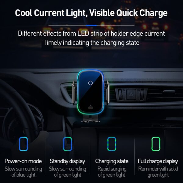 15W Fast Wireless Charger Car Phone Holder For Samsung iPhone