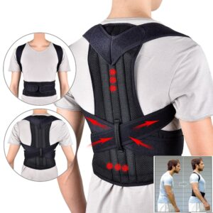 Back Support Belt Waist Adjustable Adult Trainer Shoulder Lumbar Brace