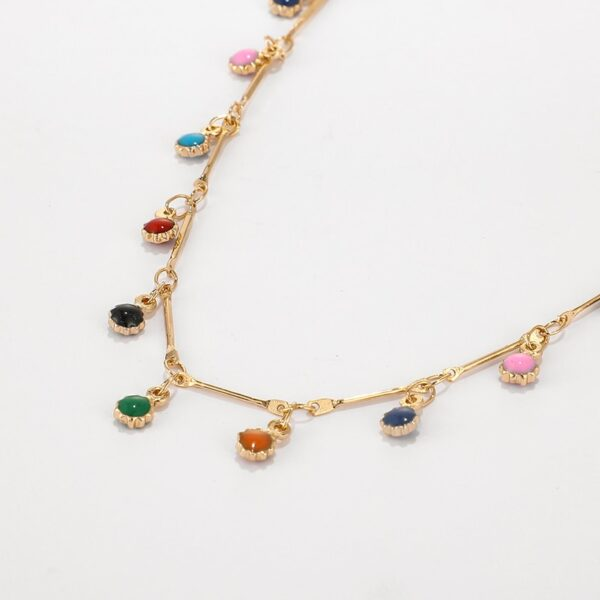 Bohemian Gold Necklace For Women Charming Colorful Stone Chain