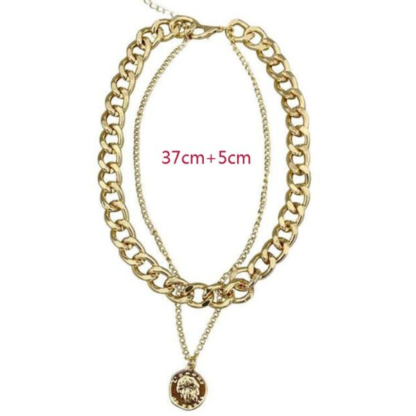 Hip Hop Double Layer Queen Metal Thick Chain Necklace For Women