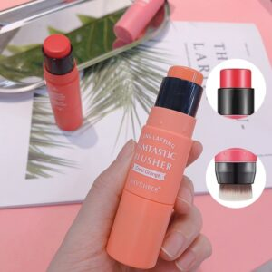 3 Colors Double-headed Blush Stick with Brush Moisturizing Face Powder Blusher Face Brighten Rouge Stick Peach Creamy Blush Make