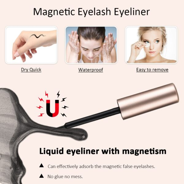5 Pair Magnetic Eyelashes With Magnet Liquid Eyeliner Waterproof