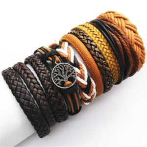 10Pcs/Set Black Wrap New Fashion Handmade Men Bracelets Leather