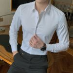 New Fashion Cotton Long Sleeve Office Shirt Solid Slim Fit For Men