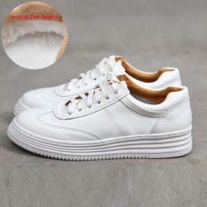 Fashion White Split Leather Women Chunky Sneakers White Shoes
