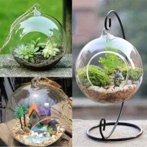 12 Inch 30cm Hanging Holder Crystal Terrarium Container Without Glass Ball Vase Pot Iron Stand Holder Decoration Home Decor 2