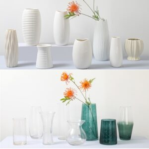 Tabletop Vases for Flowers Ceramic Terrarium Glass Containers Modern  Nordic Tall Flower Vase Home Decoration  White Vase 2