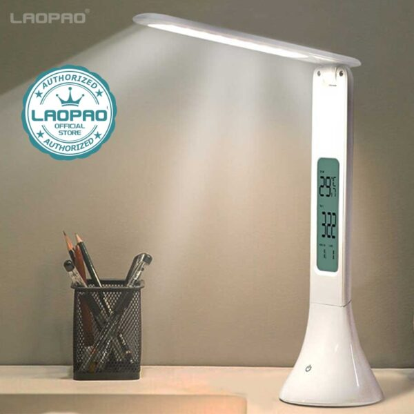 LED Desk Table Lamp Foldable With Calendar Temperature Alarm Clock