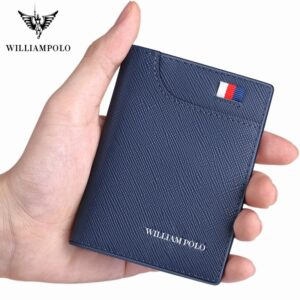 Genuine Leather Small Card Holder Men's Short Ultra-Thin Credit Card