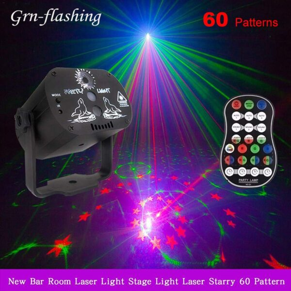 60 Patterns RGB LED Disco Light 5V USB Recharge Stage Party