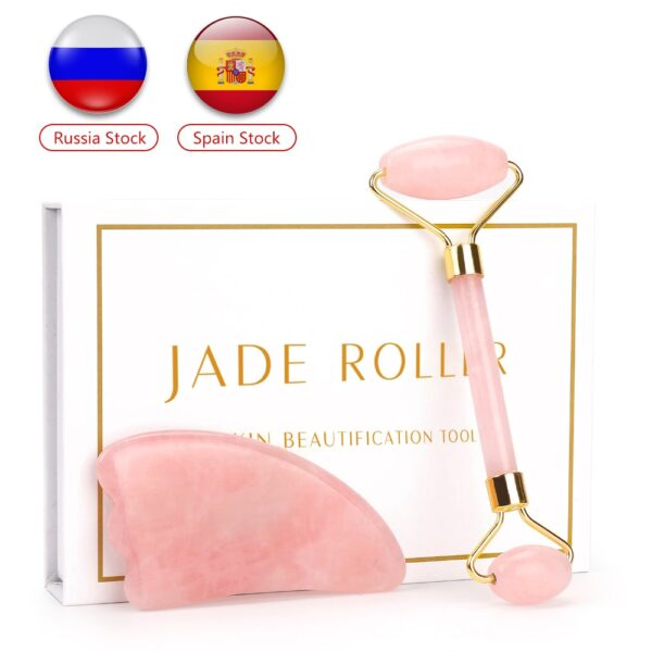 Natural Jade Stone Facial Massage Roller Skin Care Beauty Set Box