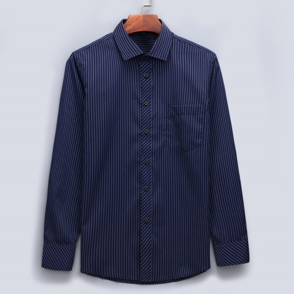 Plus Large Size Men Business Casual Long Sleeved Shirt Classic Colors
