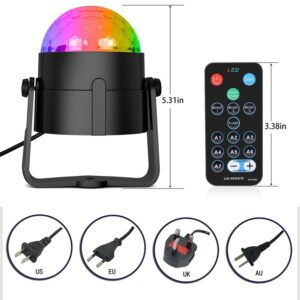 Sound Activated Rotating Disco Ball Party Lights Strobe Light 3W RGB LED Stage Lights For Christmas Home KTV Xmas Wedding Show 2