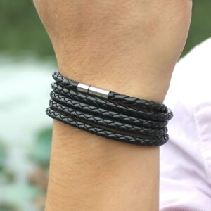 Black Retro Wrap Long Leather Bracelet Men Fashion Chain Link