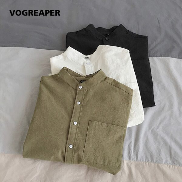 Simple Design Solid Colors Long Sleeve Shirts Korean Fashion White Black