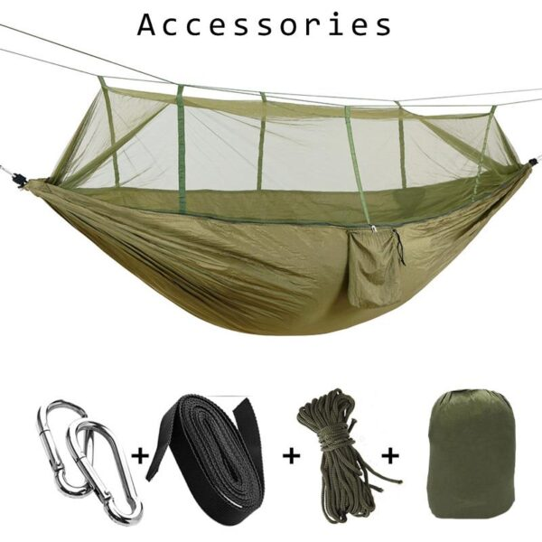 1-2 Person Portable Outdoor Camping Hammock with Mosquito Net High Strength Parachute Fabric Hanging Bed Hunting Sleeping Swing 3